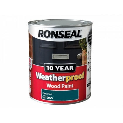 Ronseal exterior deep teal gloss 750ml for Exterior water based paint